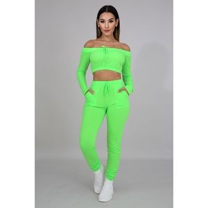*NEW* Neon Crop Top Jogger Set